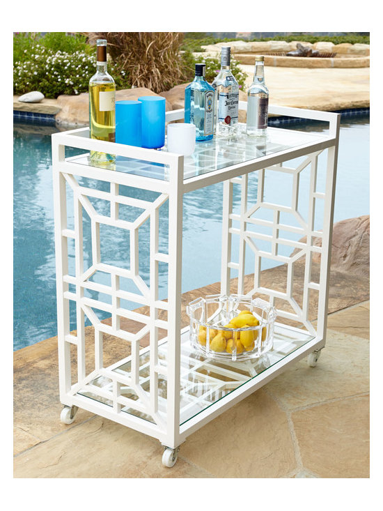 Horchow - Chinoiserie Bar Cart - This might be the perfect little bar cart for a chic summer bash. I love the fretwork details on the sides.
