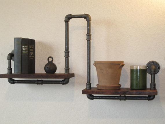 Industrial Plumbing Pipe Shelf by Vintage Pipe Dreams eclectic-wall-shelves
