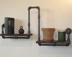 Industrial Plumbing Pipe Shelf by Vintage Pipe Dreams eclectic-display-and-wall-shelves