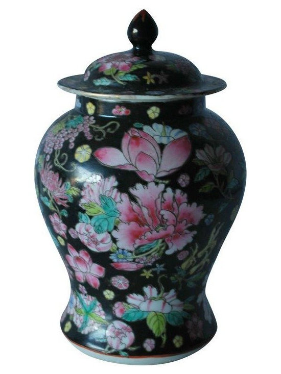 "Used Chinoiserie Black and Floral Ginger Jar - Hollywood Regency style meets Chinoiserie with this black and floral print lidded ginger jar. Originally from China, this antique piece is in excellent condition.     Measures:  Width of Base- 4""  Width of Opening- 3.25""  Height- 7"""