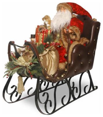 30 In. Santa on Sleigh Christmas Decoration - Traditional - Christmas ...