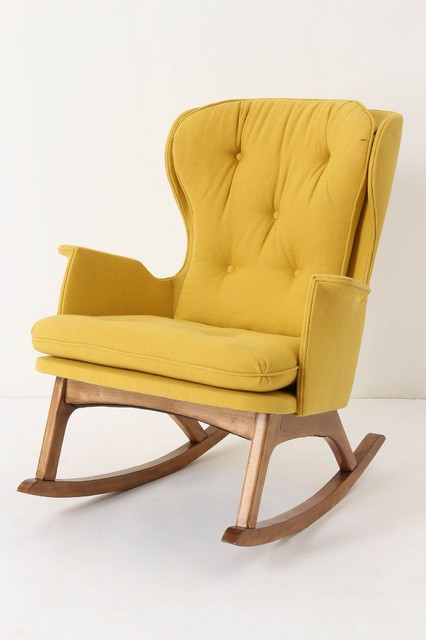Finn Rocker Gold Midcentury Rocking Chairs By