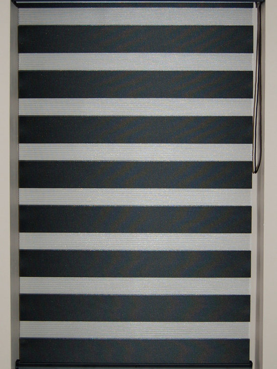 "CustomWindowDecor - Dual Shade, Soft, 22""-47""W x 36""L, Black, 22-5/8"" W - Dual shade is new style of window treatment that is combined good aspect of blinds and roller shades"