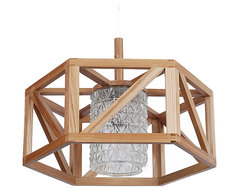 Glass Shade Wooden Hexagon Modern Designer Pendant contemporary-pendant-lighting