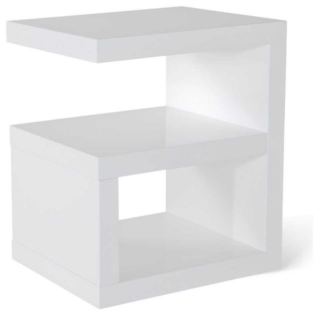 Jayden high gloss modern side table white contemporary for White end table