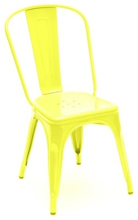 Tolix Classic French Cafe Chair, Yellow modern dining chairs and benches
