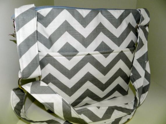 Digital DSLR Camera Bag Gray And White Chevron Print By Darby Mack contemporary