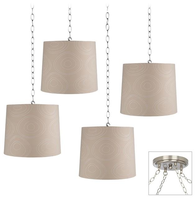 Contemporary Modern Swirls 4-Light Brushed Steel Multi Light Pendant contemporary-chandeliers