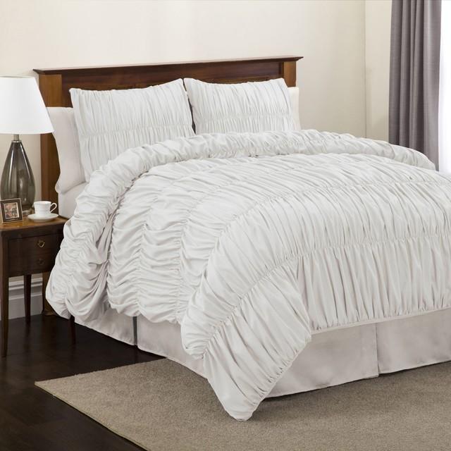 Lush Decor Venetian 3-piece White Comforter Set, Twin ...
