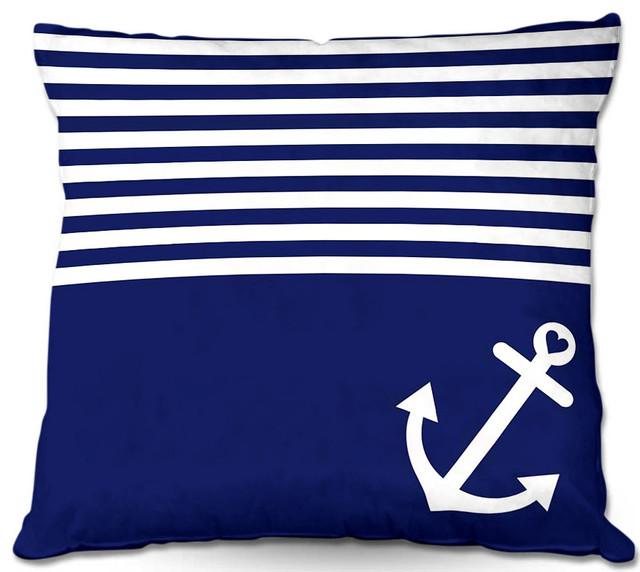 ... Saturation - Navy Blue Love Anchor Nautical contemporary-bed-pillows