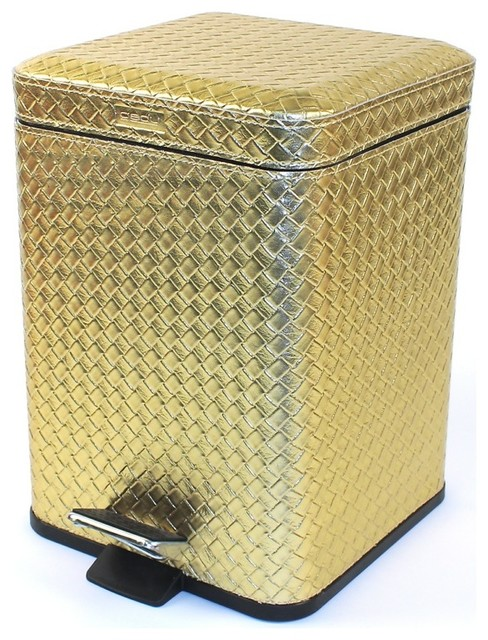 Square faux leather waste bin with pedal gold for Gold bathroom bin