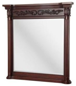 Pegasus Estates 38 in. L x 36 in. W Wall Bathroom Mirror in Rich Mahogany contemporary-bathroom-mirrors