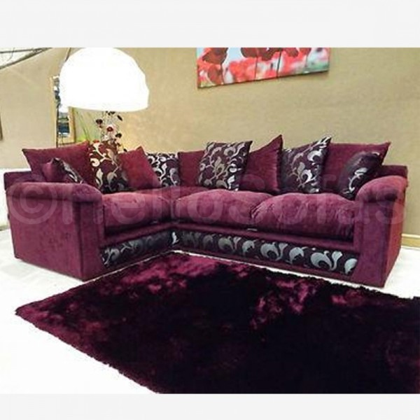 Migano purple fabric corner sofa contemporary sofas for Purple sofa