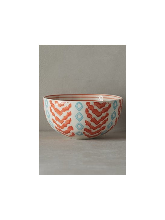 """Anthropologie - Linari Nut Bowl - Handpainted stoneware. Dishwasher and microwave safe. Imported. 11 oz. 2.25""""H, 4.5"""" diameter"""