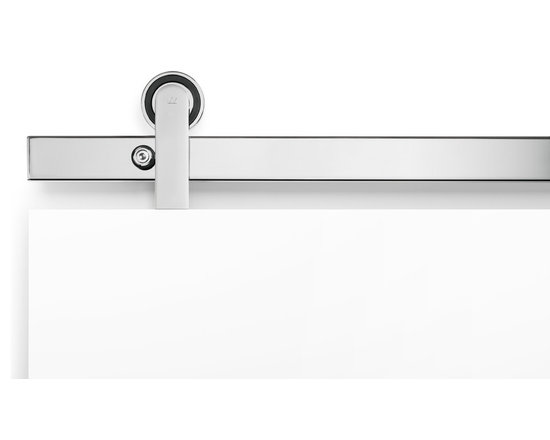 Oden Top Mount Polished Stainless Barn Door Hardware -