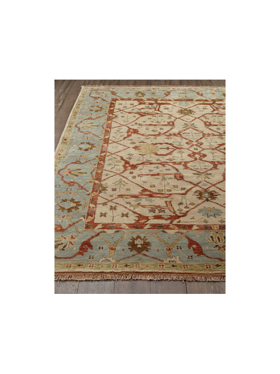 "Horchow - ""Dulin"" Blue Oushak Rug - A traditional pattern rendered in cool blue and ivory makes this rug a classic choice for any room. Hand knotted of hand-spun, sun-dried wool yarn. Antique washed for ""old world"" Oushak look. Sizes are approximate. Imported. See our Rug Guide...."