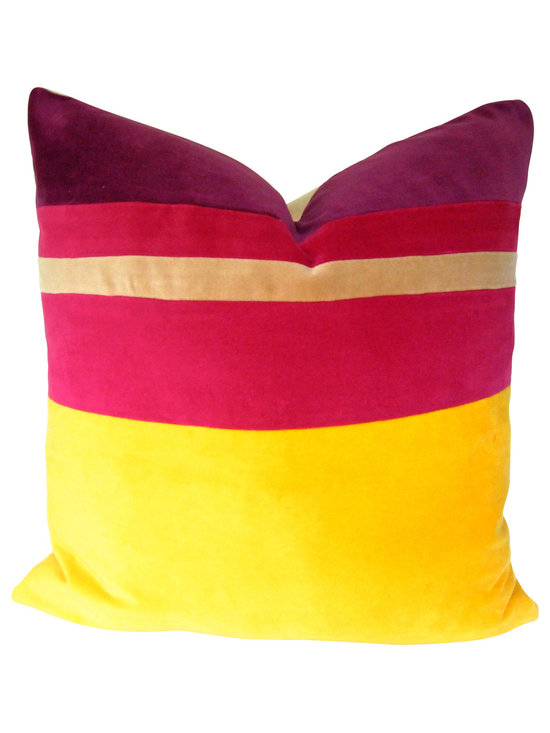 Therese Marie Designs - Yellow and Pink Colorblocked Pillow Cover - Yellow and pink color blocked velvet pillow. Widths of bright yellow, pink, tan, and eggplant cotton velvet are pieced together in this interesting mix of colors. All fabrics are medium weight.