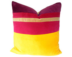 Yellow and Pink Colorblocked Pillow Cover transitional