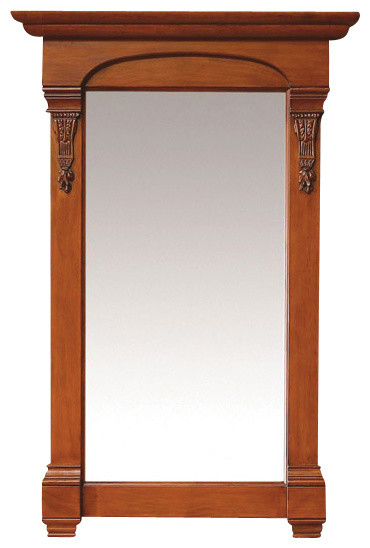 bates 26-in mirror (burnished oak) transitional-bathroom-mirrors