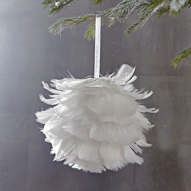 Feather Ball Ornament Contemporary Christmas Ornaments