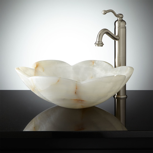 Flower Vessel Sink : Flower-Shape White Onyx Vessel Sink - Contemporary - Bathroom Sinks ...