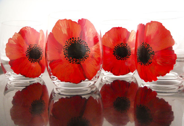 Red Poppy Flower Glasses Set Of 4 Everyday Glasses New York By