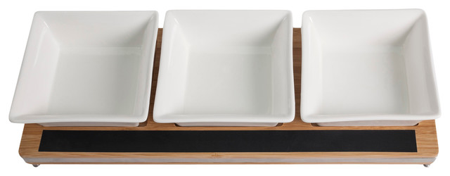 Appetizer Serving Tray With Chalkboard Label contemporary-serving-trays