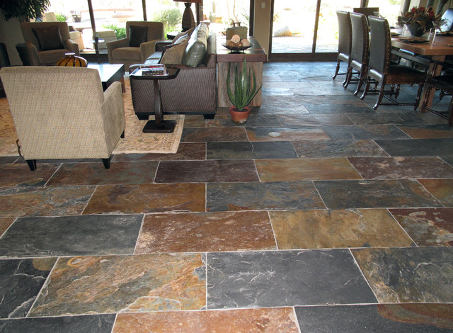Grey slate kitchen floor home design and decor reviews for Traditional flooring