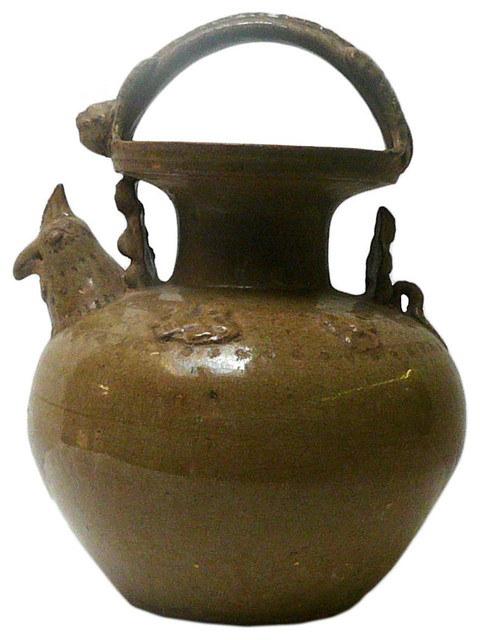 Ancient Chinese Style Ceramic Pottery Display Pot - Asian - Artwork