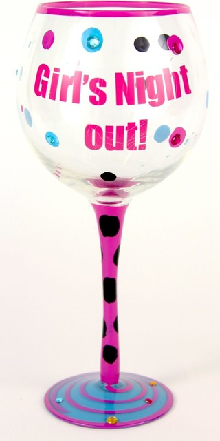 Hand Painted Girls Gotta LIve! Wine Glass, Holds 18 Oz - In A Gift Box contemporary-everyday-glasses
