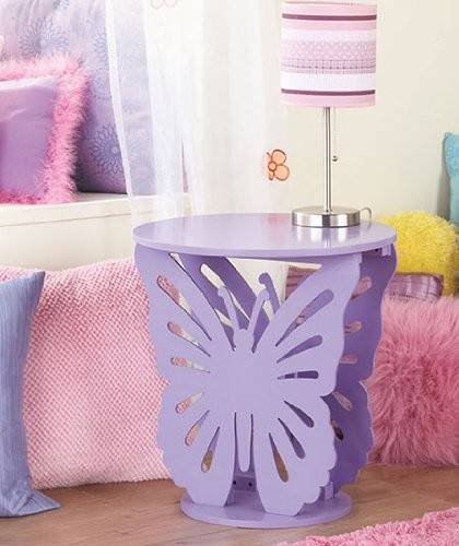 Purple Butterfly Table Kids Bed Room Girls Cute Table