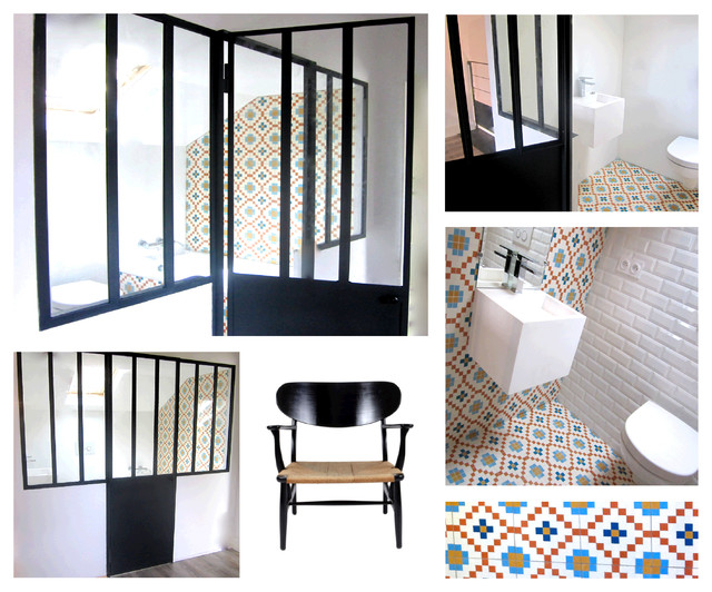 petite salle de bain derri re une verri re dijon contemporary bathroom other metro by. Black Bedroom Furniture Sets. Home Design Ideas