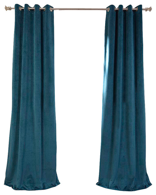 signature everglade teal grommet blackout velvet curtain more info