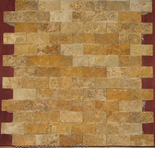 1 in. x 2 in. Yellow Gold Tumbled Split Face Bricks Pattern Mesh-Mounted Travert modern-wall-and-floor-tile