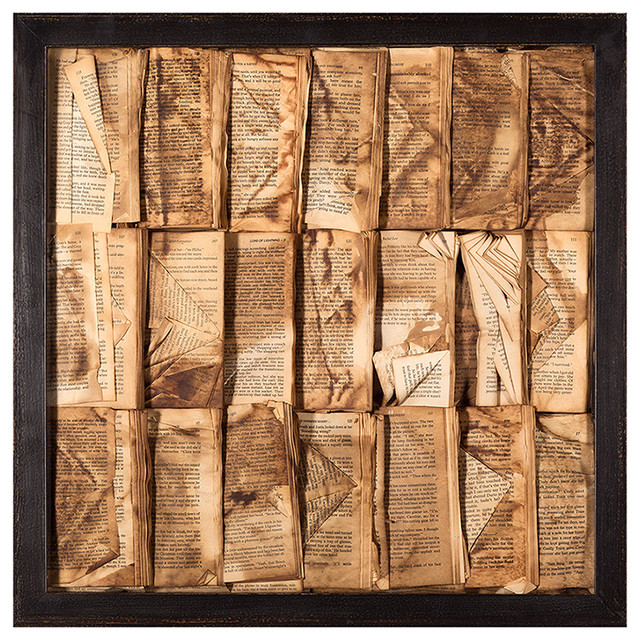 Cooking the Books Rustic Lodge Aged Books Small Wall Art - Eclectic - Artwork - by Kathy Kuo Home