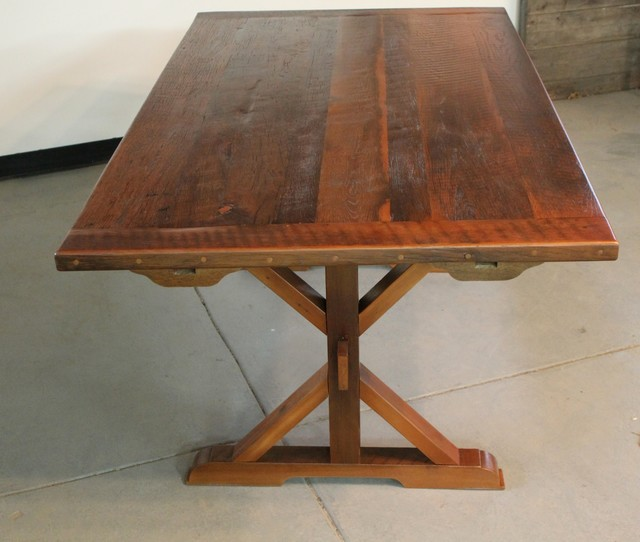 Rustic Trestle Base Table From Reclaimed Pine Farmhouse