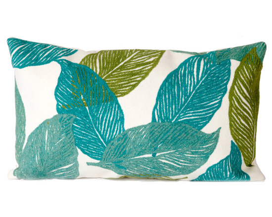 """Trans-Ocean Outdoor Pillows - Trans-Ocean Liora Manne Mystic Leaf Aqua - 12"""" x 20"""" - Designer Liora Manne's newest line of toss pillows are made using a unique, patented Lamontage process combining handmade artistry with high tech processing. The 100% polyester microfibers are intricately structured by hand and then mechanically interlocked by needle-punching to create non-woven textiles that resemble felt. The 100% polyester microfiber results in an extra-soft hand with unsurpassed durability."""