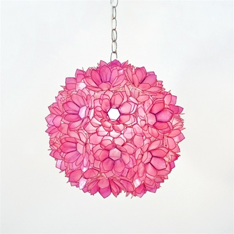 "Venus 15"" Pendant Chandelier in Hot Pink Translucent Capiz Shell eclectic-pendant-lighting"