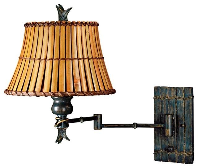 Kenroy Kwai Bamboo Shade Plug-In Swing Arm Wall Lamp - Tropical - Wall Lighting