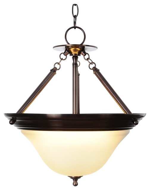 Three Light 15.5 inch Pendant Fixture - Oil Rubbed Bronze - Transitional - Pendant Lighting - by ...