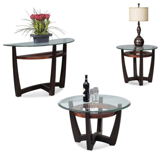 Bassett mirror elation round 3 piece glass top cocktail table set transitional coffee tables One piece glass coffee table