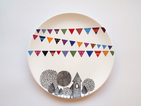 Village Wall Plate by Zuppa atelier contemporary artwork
