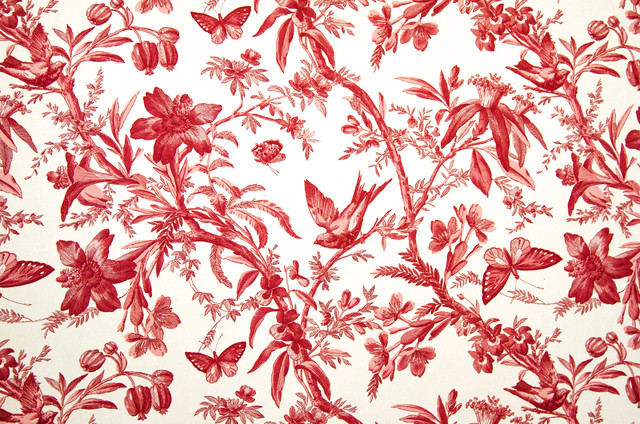 Red Toile Fabric Bird Butterfly Passion Flowers Standard