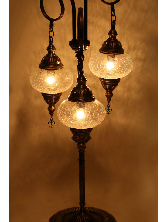Turkish Style Transparent Glass Floor Lamp -