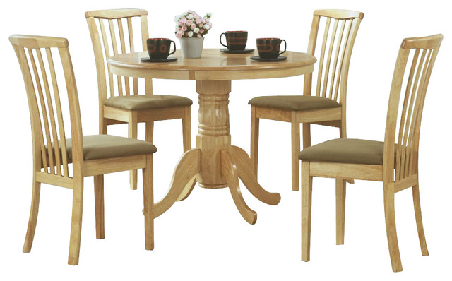 Monarch specialties 5 piece 40 inch round dining room set for Light wood dining room sets