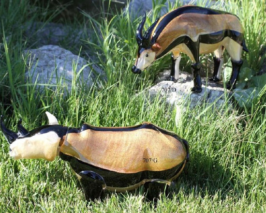 Murano Glass Sculptures and Figurines - Murano Glass Rhino and Orix figurines - COA and made to order.  More available so please contact us