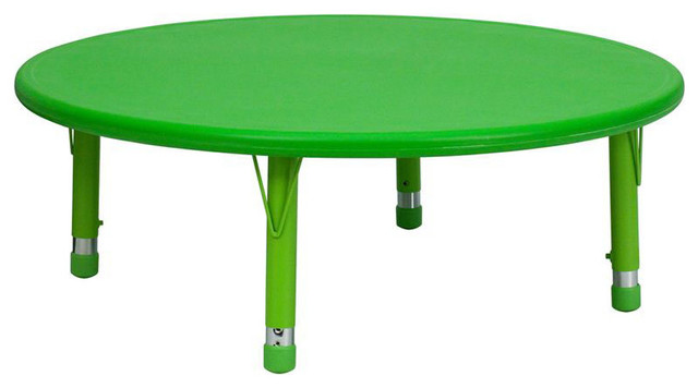 "45"" Round Height Adjustable Round Green Plastic Activity Table contemporary-indoor-pub-and-bistro-tables"