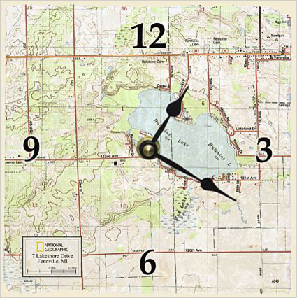 My Town Topo! Map Clock eclectic-clocks