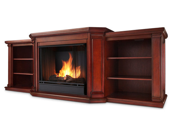 Real Flame - Valmont Home Theater Media Center and Gel,door Fireplace, Dark Mahogany - Angled columns with flared corbels and recessed side panels highlight the grand profile of the Valmont Mantel. Capable of safely supporting a television of 100 lbs. or less while adjustable shelving accommodates most electronics and other objects. The hand-painted log set and bright crackling flame add to the realistic look of this Real Flame Gel Fuel Fireplace. Uses 3 - 13oz. cans of Real Flame Gel Fuel. Available in Dark Mahogany and Chestnut Oak finishes.
