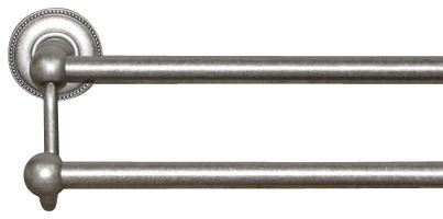 "Edwardian Bath 30"" Double Towel Rod - Antique Pewter - Beaded Back Plate modern-towel-bars"